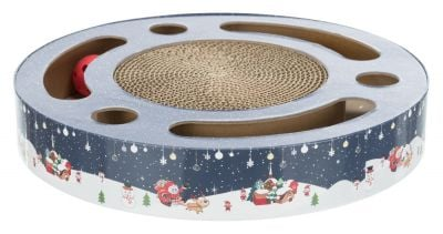Trixie Xmas Scratching Drum with Toys Blue/White