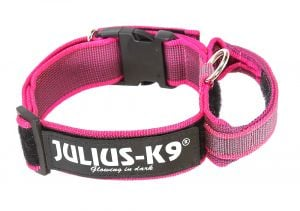 "Trixie Julius K-9 Collar with Handle ""Color & Gray"" (Pink)"