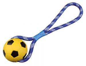 Trixie Balón de fútbol en una cuerda con lazo de mano - ø 8/35 cm
