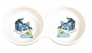 Trixie Double Bowl in Ceramic for Cats 2x150ml