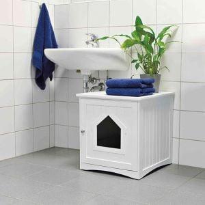 Trixie Casa Em MDF Lacado para Toilete De Gatos 49X51X51 Cm (Branco)