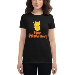 "Premium T-Shirt ""Stay Pawsitive"" Cats Black - Woman"