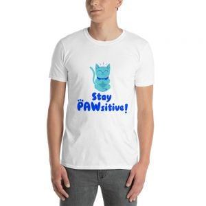 "T-Shirt ""Stay Pawsitive"" Cats White - Man"