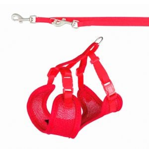 Trixie Harness Puppy Soft with Leash (Red)